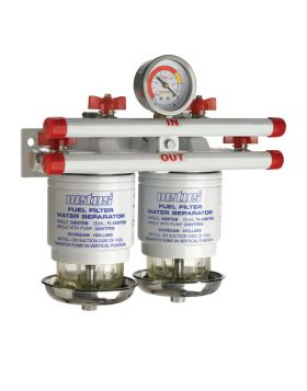 Water separator/fuel filter CE/ABYC, double, 10 micron, max. 42 gph (190 l/h),