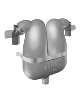 Exhaust gas separator with 45 mm rotating connections and 38 mm drain