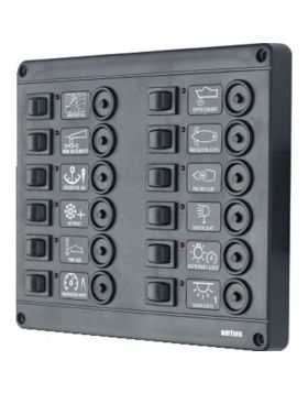 Switch panel type P12 with 12 circuit breakers, 24V