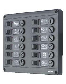 Switch panel type P12 with 12 fuses, 24V