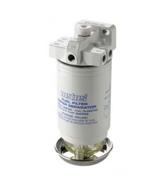 Water separator/fuel filter with bleeding pump,CE/ABYC, single, 10 micron, max.  (380 l/h)