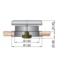 Dæksventil type ATHOS1 syrefast incl. plast inderflange