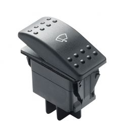 Three-position rocker type switch for windscreen wiper motors (Off-1-2)
