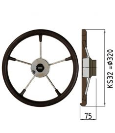 Steering wheel type KS with PU-foam layer - Ø32 cm - Black
