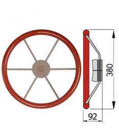 Steering wheel with mahogany rim, type KW - Ø38 cm