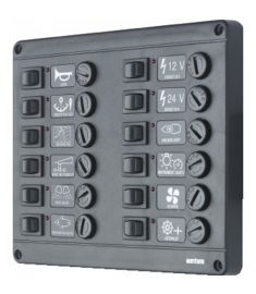 Switch panel type P12 with 12 fuses, 12V