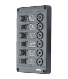 Switch panel type P6 with 6 circuit breakers, 12V