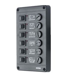 Switch panel type P6 with 6 fuses,  12V