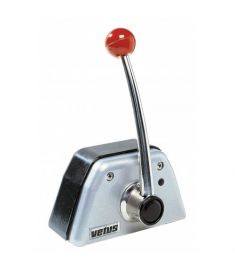 Single lever remote control, top mounting, black/grey aluminium housing & stainless steel lever