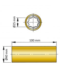 ØA 25 mm x ØB 40 mm x C 100 mm - brass