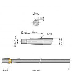 25 mm - L:1000 mm - Propeller shaft incl. nut with zinc anode