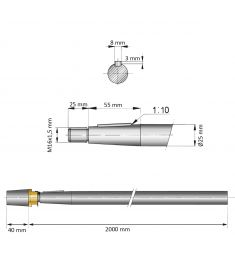 25 mm - L:2000 mm - Propeller shaft incl. nut with zinc anode