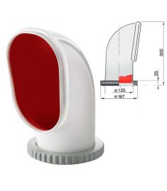 Cowl ventilator type Samoen, silicone with red interior, Ø 125 mm (incl. plastic deck ring and nut)