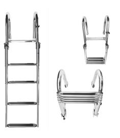 Luxury Telescopic swim ladder with 4 steps. Stainless steel (AISI 316). With black synthetic grips.