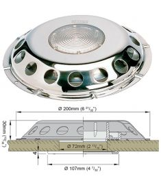 Deck ventilator (stainless steel AISI 316) type UFO TRANS  (incl. plastic grill)